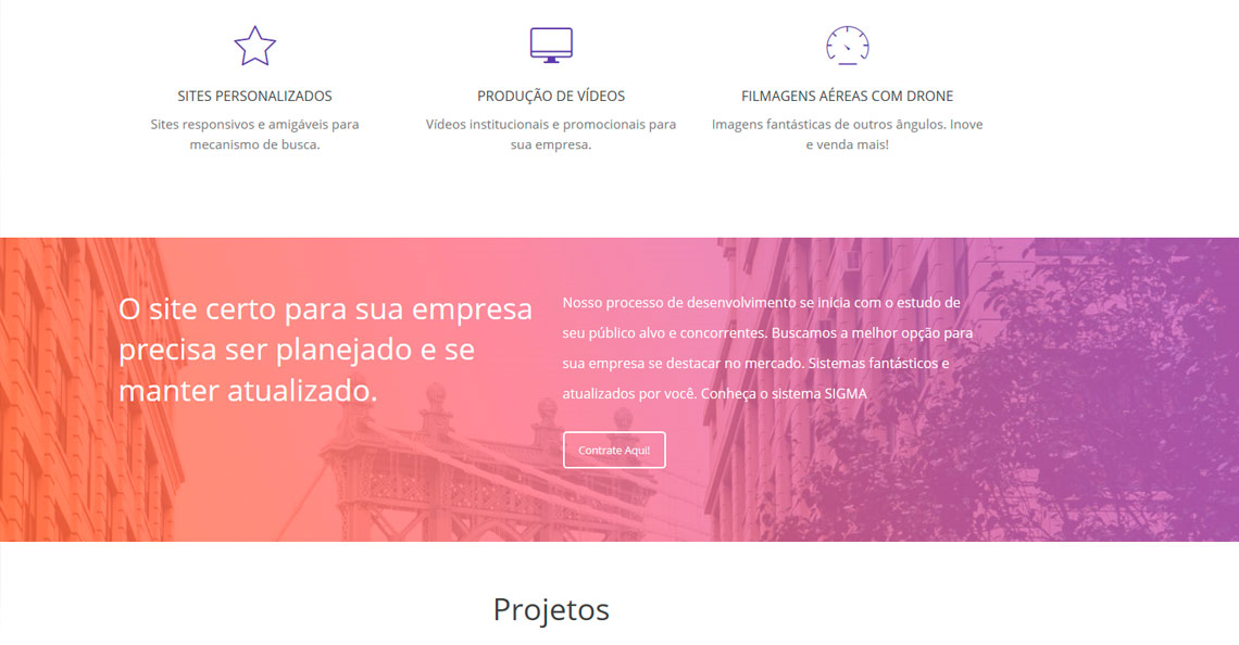 Criação de sites SIGMA Website inteligente